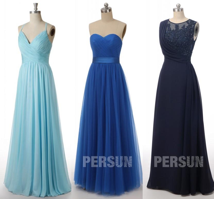 robe demoiselle s'honneur longue bleu