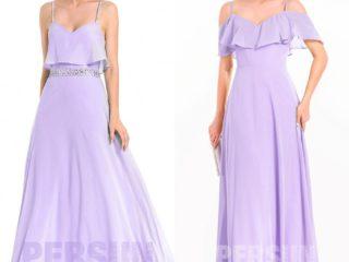robe demoiselle d'honneur longue lilas bustier à volant