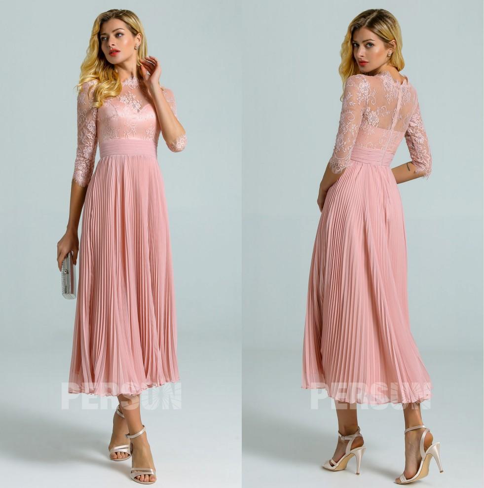 robe cocktail vintage midi rose chair col feston dentelle avec manche courte et jupe drapé