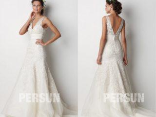 robe de mariée trompette décolleté v en dentelle appliquée