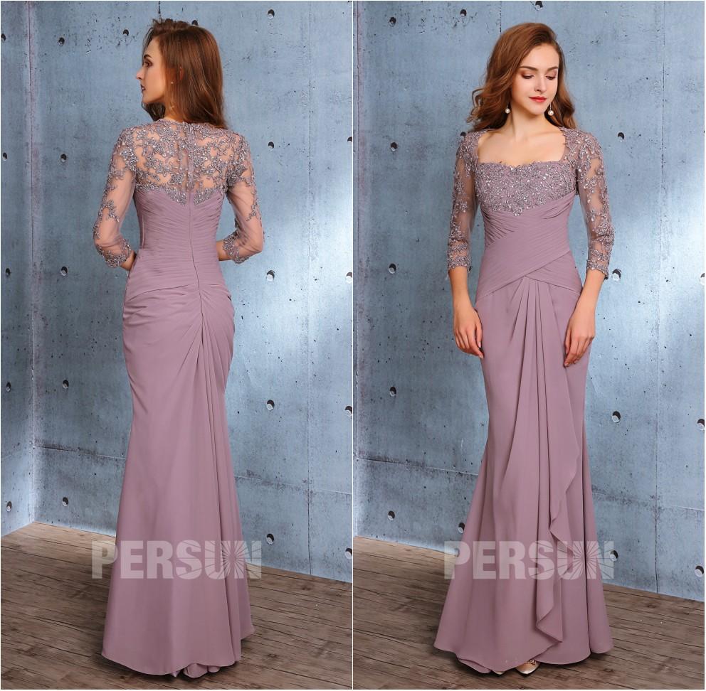 robe parme invité mariage longue sirène en dentelle appliquée à manches