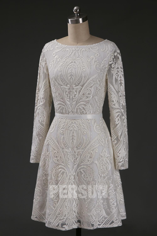 robe de mariée courte en dentelle brodé manches longues